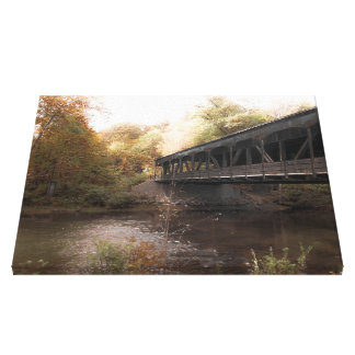 Antique covered bridge canvas print