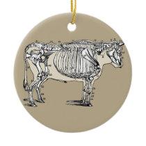 Antique Cow Skeleton Bones Fun Ceramic Ornament