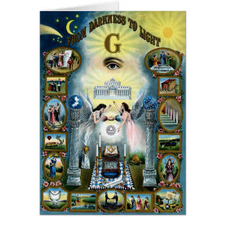 Antique Craft Freemasonry Masonic Hazen Greeting Card