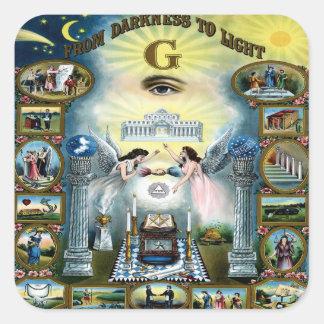 Antique Craft Freemasonry Masonic Hazen Square Sticker