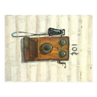 antique crank pay phone postcard