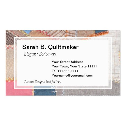 antique crazy quilt for quilter antique dealer business card zazzle. Black Bedroom Furniture Sets. Home Design Ideas