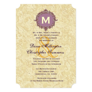 Antique Cream and Purple Vintage Monogram Wedding Card