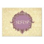Antique Cream Purple RSVP Wedding Response Card