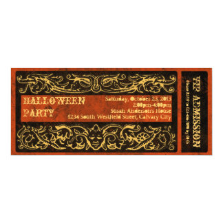 Antique Creepy Goth Halloween Party Ticket 4x9.25 Paper Invitation Card