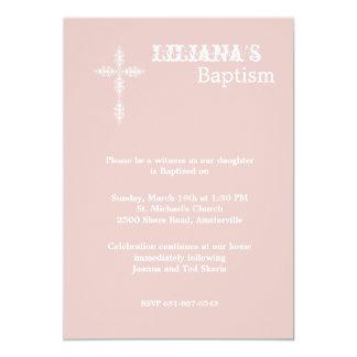 """Antique Cross Blush Religious Invitation 5"""" X 7"""" Invitation Card"""