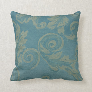antique damask dark green gold vintage baroque throw pillow