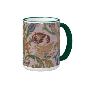 Antique Damask Fabric Coffee Mugs