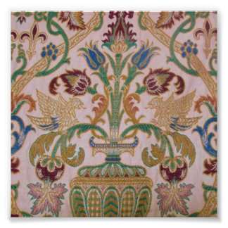 Antique Damask Fabric Photographic Print