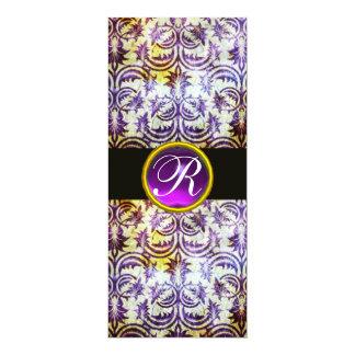 ANTIQUE DAMASK MONOGRAM,black purple, white Card