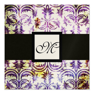 ANTIQUE DAMASK MONOGRAM,black white purple,gold 5.25x5.25 Square Paper Invitation Card