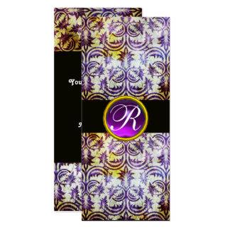 ANTIQUE DAMASK MONOGRAM,black white purple,silver Card