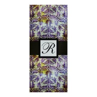 ANTIQUE DAMASK SQUARE MONOGRAM,black purple,silver Card