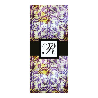 ANTIQUE DAMASK SQUARE MONOGRAM,purple,black, white Card