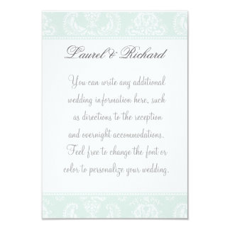 Antique Damask Wedding Reception Information Card