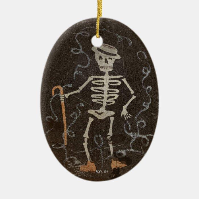 Antique Dancing Skeleton Customizable Ceramic Ornament
