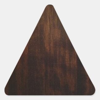 Antique Dark Wood Design Triangle Sticker