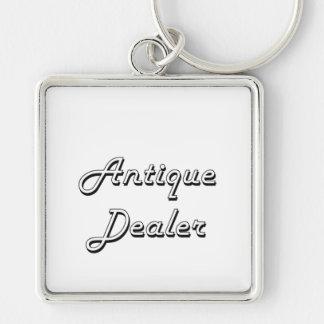 Antique Dealer Classic Job Design Silver-Colored Square Keychain