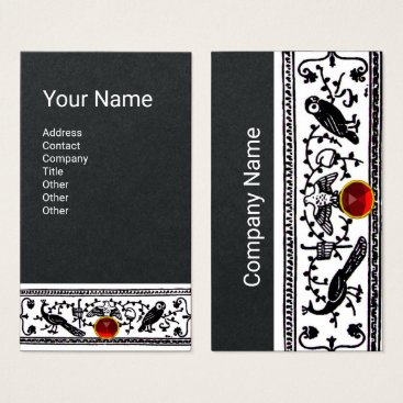 Wedding Themed ANTIQUE DECOR,ANIMALS,RED RUBY,White, Black Paper Business Card
