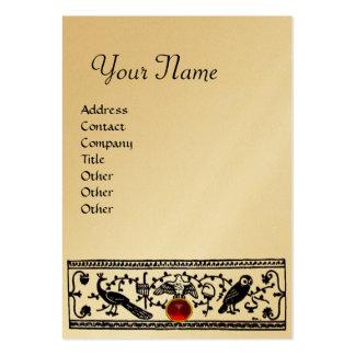 ANTIQUE DECOR, RUBY  MONOGRAM,gold metallic paper Large Business Card