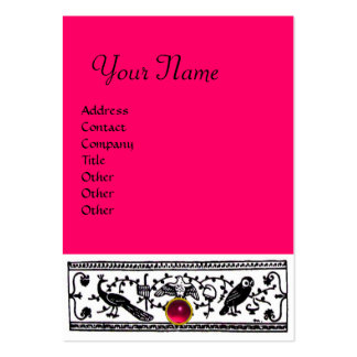 ANTIQUE DECOR, RUBY  MONOGRAM ,pink red Large Business Card