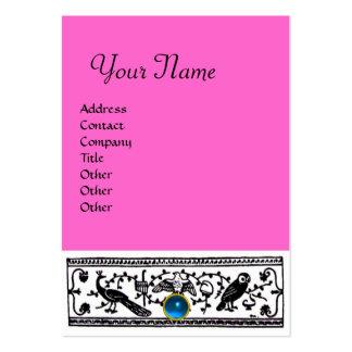 ANTIQUE DECOR, SAPPHIRE  MONOGRAM ,blue pink Large Business Card