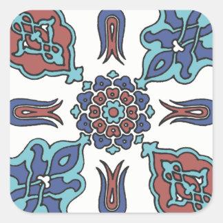 Antique Decorative Flower Floral Design Square Sticker