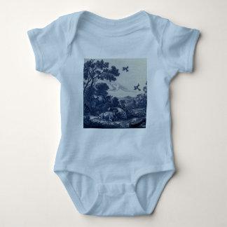 Antique Delft Blue Tile - Cattle and Birds Baby Bodysuit