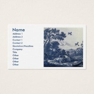 Antique Delft Blue Tile - Cattle and Birds Business Card