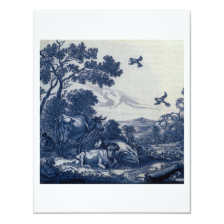 Antique Delft Blue Tile - Cattle and Birds Card