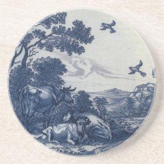 Antique Delft Blue Tile - Cattle and Birds Drink Coaster