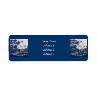 Antique Delft Blue Tile - Cattle and Birds Label