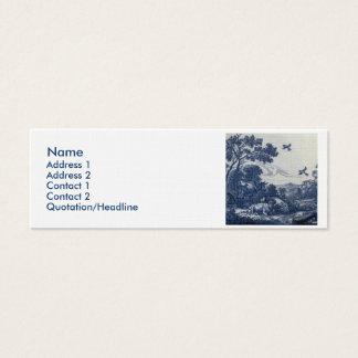 Antique Delft Blue Tile - Cattle and Birds Mini Business Card