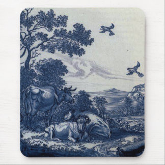 Antique Delft Blue Tile - Cattle and Birds Mousepads