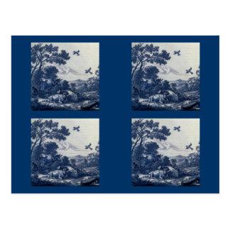 Antique Delft Blue Tile - Cattle and Birds Postcard