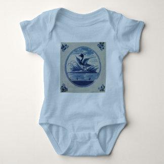 Antique Delft Blue Tile - Duck in the Water Baby Bodysuit