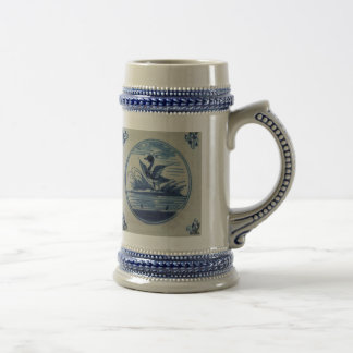 Antique Delft Blue Tile - Duck in the Water Beer Stein