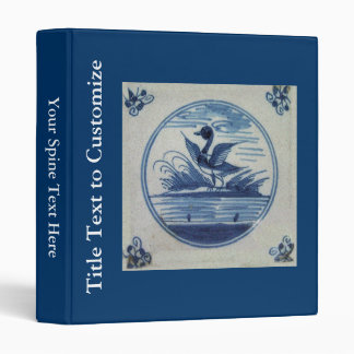 Antique Delft Blue Tile - Duck in the Water Binder