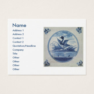 Antique Delft Blue Tile - Duck in the Water Business Card
