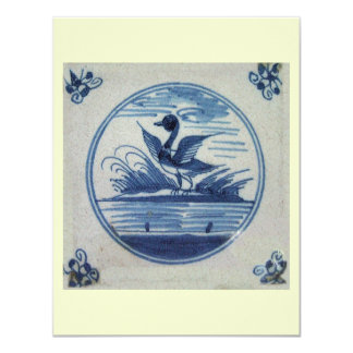 Antique Delft Blue Tile - Duck in the Water Card