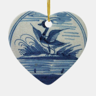 Antique Delft Blue Tile - Duck in the Water Ceramic Ornament