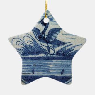 Antique Delft Blue Tile - Duck in the Water Ceramic Ornament