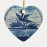 Antique Delft Blue Tile - Duck in the Water Double-Sided Heart Ceramic Christmas Ornament