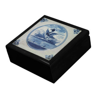 Antique Delft Blue Tile - Duck in the Water Jewelry Box