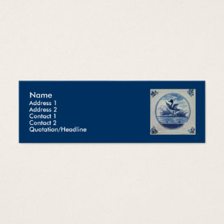 Antique Delft Blue Tile - Duck in the Water Mini Business Card