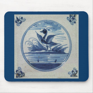 Antique Delft Blue Tile - Duck in the Water Mouse Pad