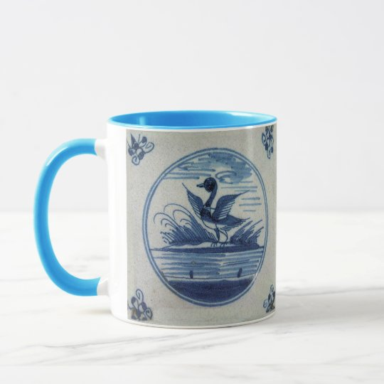 Antique Delft Blue Tile - Duck in the Water Mug