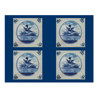 Antique Delft Blue Tile - Duck in the Water Postcard