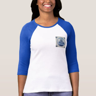 Antique Delft Blue Tile - Duck in the Water T-Shirt
