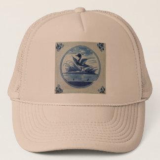 Antique Delft Blue Tile - Duck in the Water Trucker Hat